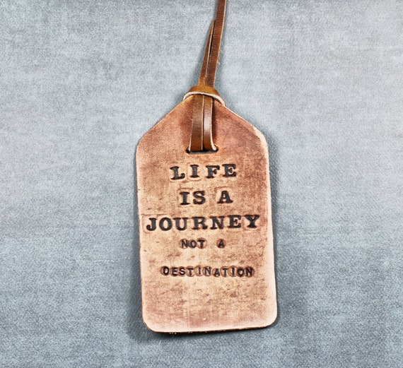 Life is a Journey Luggage Tag, Gift for Travelers, Wanderlust, Stocking Stuffers, Leather Bookmark, Graduation Gift, Emerson Quote