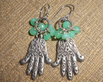 Sterling and Pewter Hamsa and Chrysoprase Earrings