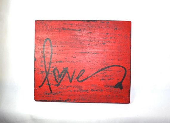 Red Love Wall Decor : Items similar to red love wall hanging art distressed