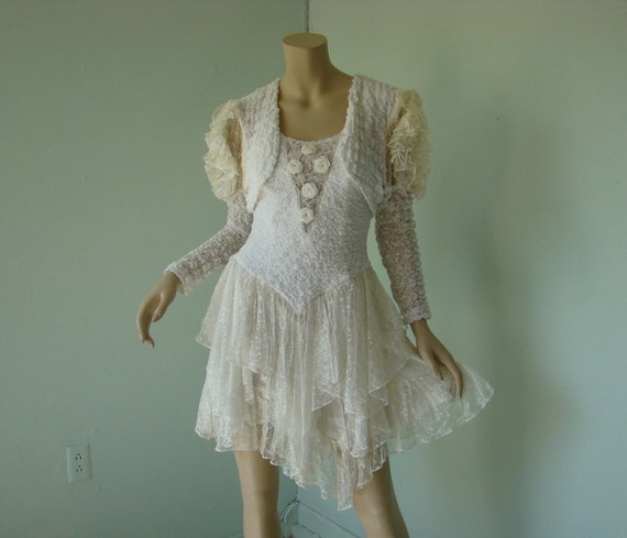 Snow Princess Party Dress in White Lace- 1980's Vintage- Rosettes & Stretch Bubble Fabric- Matching Bolero Jacket