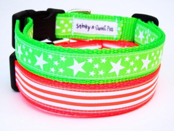 Neon Stars and Stripes - Dog Collar / Pet Accessories / Adjustable / Handmade / Neon