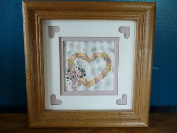 Vintage Counted Cross Stitch Heart Picture Matted and Framed