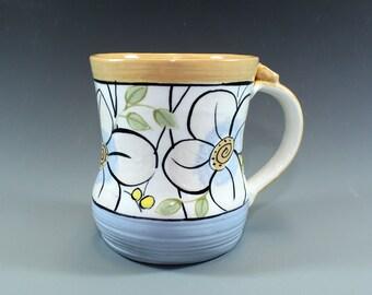 Handmade Pottery Mug, Handpainted Coffee Mug, Floral Blue and Butternut banded mug-SKU1211-2