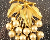 Vintage Crown Trifari Grape Cluster Pin of Goldtone and Faux Pearls