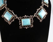 Vintage Chunky Blue Openwork Necklace
