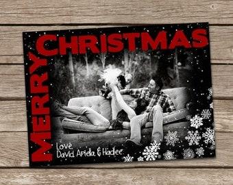 Photo Christmas Card : Modern Snowflakes Christmas Card Printable
