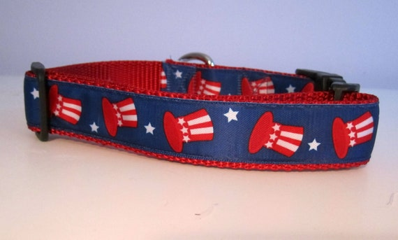 Dog Collar, Uncle Sam, American, 1 inch wide, adjustable, quick release, metal buckle, chain, martingale, hybrid