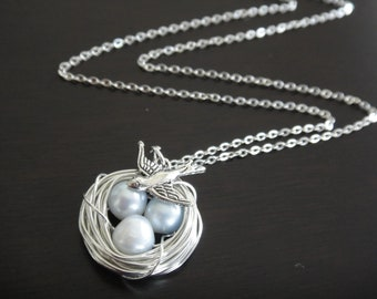 Ice Blue Freshwater Pearl Bird's Nest Necklace