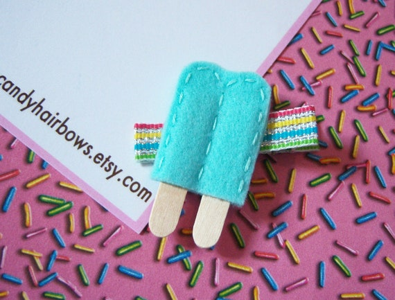 Felt Popsicle Hair Clip -  Turquoise - non slip - Blue Raspberry - rainbow