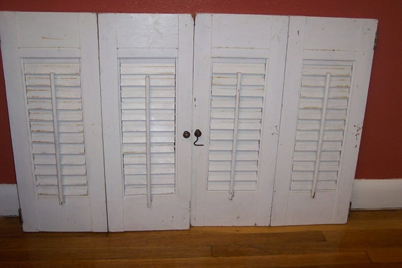Shutters White Wood Shutters Set of 4 Louvered Panels