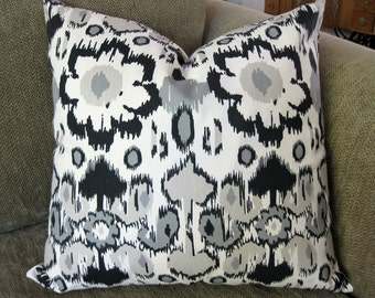 Decorative Pillow Covers,  One 18 x 18, Black, Gray, Taupe and Cream Ikat Print