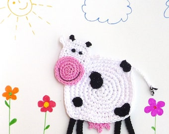 Crochet Cow Pattern - Cow Coaster Pattern - Kitchen Decor - Coaster Pattern - Cow Coaster - Farmhouse Style - Animal Coaster Pattern
