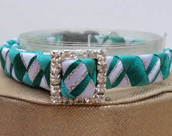 Designer Cat Collar Breakaway in Teal Tartan Effect