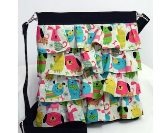 Hip Bag Purse Ruffle Adjustable Crossbody Bright Puppies on black