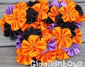 Set of FiVE AMAZiNG Satin CLuSTeR Flowers- FuNKY HaLLoWEEN- 4 inch