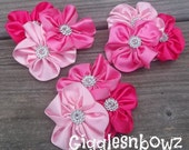 Set of THREE Embellished Satin CLuSTeR Flowers- Shades of Pink- NEW  2.5-3 inch Size