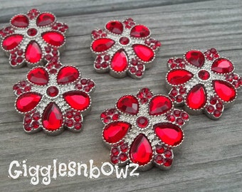 Rhinestone Buttons- NEW Set of FIVE LiMiTED EDiTiON FaNCY XL Buttons- Red 30mm