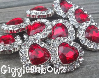 Valentine Rhinestone Buttons- NEW Set of Ten Red Heart and Clear Buttons 25mm