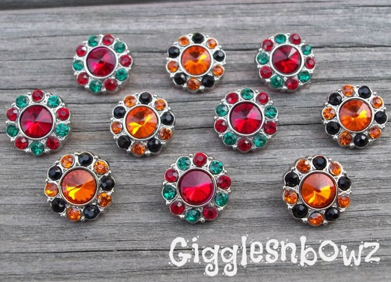 New Set of TeN HALLOWEEN and CHRiSTMaS Set Tiny Rhinestone Buttons PETITE Size- 13mm