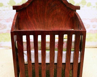 Barbie Sized Baby Crib - 1/6 scale Modern Crib -  MADE TO ORDER