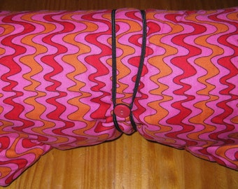 Pink N Orange SWIRL Wiggly Trippy Hippie Striped Fabric w/Elastic ButtonStrings - Padded Pouch for Glass Peace Pipes, Adult Toys & Valuables