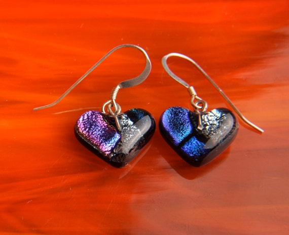 Handmade Dichroic Glass Earrings Sterling Silver .925 ...hearts...