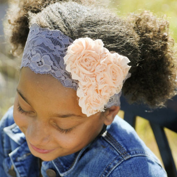 SOPHIA  on lace - peach and beige trio rosette headband