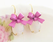 White Opal Purple Bow Earrings -Vintage White Opal Jewel and Lavender Purple Bow Dangle Earrings - Gold Plated Ear Wire, Wedding, Bridesmaid