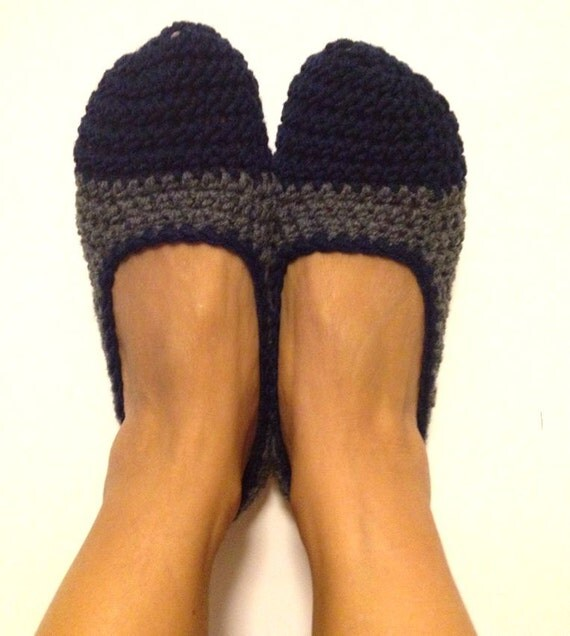 Navy Grey Crochet Womens Slippers, Ballet Flats, House Shoes
