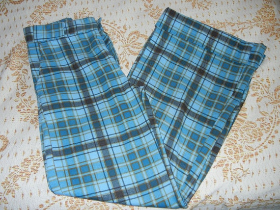 plaid bell bottom pants Small  70s super cute cotton SALE