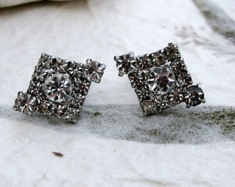 Flashy Vintage Art Deco Style Clear Rhinestone Earrings
