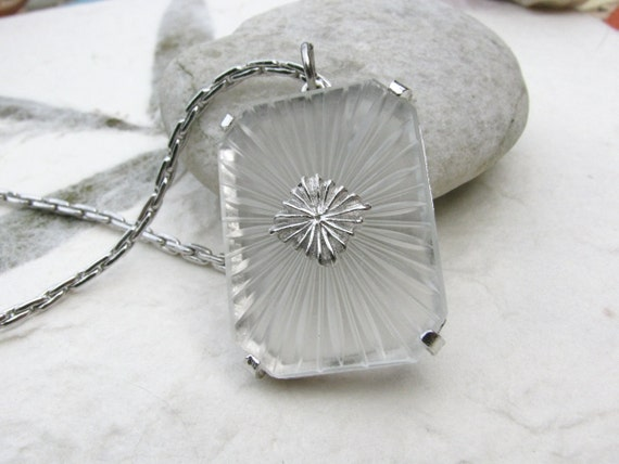 Vintage Camphor Glass Pendant on Silver Box Chain