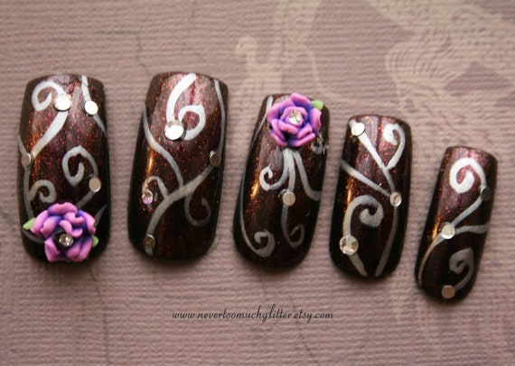 Japanese Nail Art- Purple Rose Fantasy