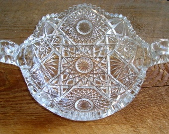 Vintage Radiant Daisy Crystal Signed Nucut Double Handled Nappy Bowl