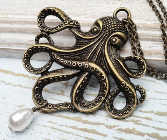 Large Brass Octopus Steampunk Necklace - Lightweight Gothic Victorian - Jules Verne