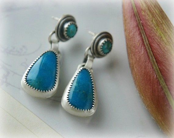 Reserved (Balance)- Little Drops of Heaven - Turquoise Sterling Silver Post Earrings
