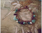 Fairy tale Charm Bracelet, Blue Green Aqua Pearl Water Nymph theme, FREE Aust Shipping