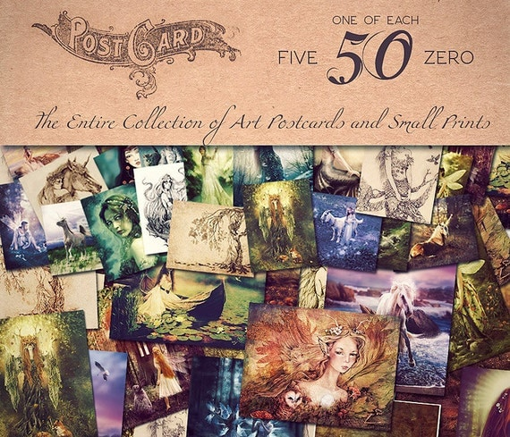 My Entire Collection of Postcard Art Prints, 52 Fantasy Illustrations by Ginger Kelly