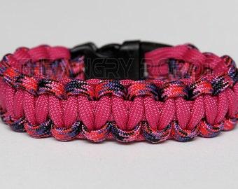 SLIM Paracord Survival Bracelet Cobra - Candy Snake and Fuchsia