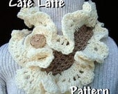 Crochet Pattern - Scarf - Cafe Latte Ruffled Cowl - PDF 95