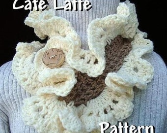 Crochet Pattern - Scarf - Cafe Latte Ruffled Cowl - PDF 95