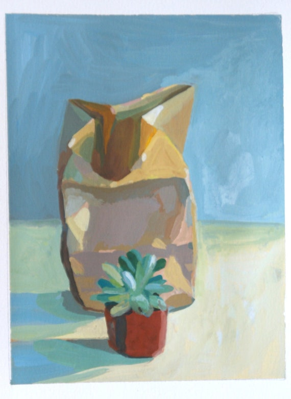 MOVING SALE-Small succulent and paper bag- Original gouache painting
