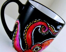 Octopus Mug Black Ceramic Pink Cephalopod Tentacles Painted Sea Creature Orange Red - MADE TO ORDER