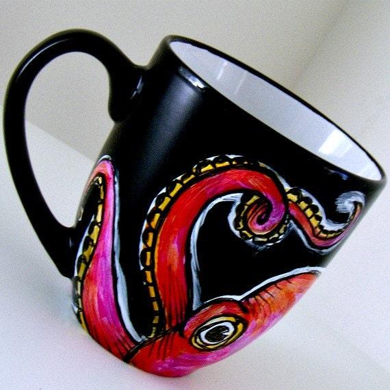 Octopus Ceramic Pink Cephalopod Tentacles Mug