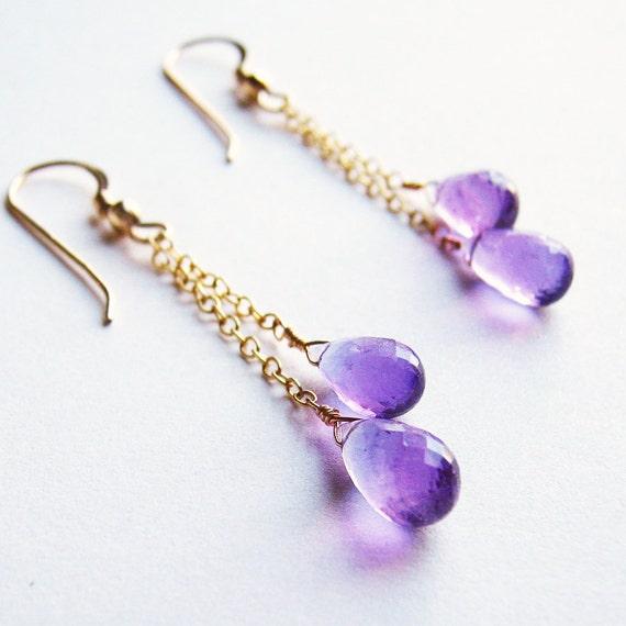 Light Purple Amethyst Earrings. Violet Faceted Amethyst Briolette Drop 14K Gold Filled Earrings