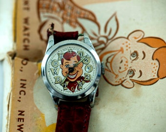 Rare HOWDY DOODY Wrist WATCH With movable eyes and Display. Gift, television, puppet