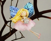 Pink Fairy with Silver Star, Pink Flower Fairy Ornament, Star Decoration