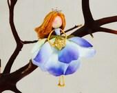 Flower Fairy Holding Gold Star Ornament, Miniature Fairy Doll, Fairy Christmas Decoration, Waldorf Fairy Doll