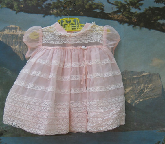 Beautiful Pale Pink Sheer and Lace Nannette Baby Dress -3 Months
