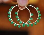 Emerald Circle Sterling Silver Hoop Earrings